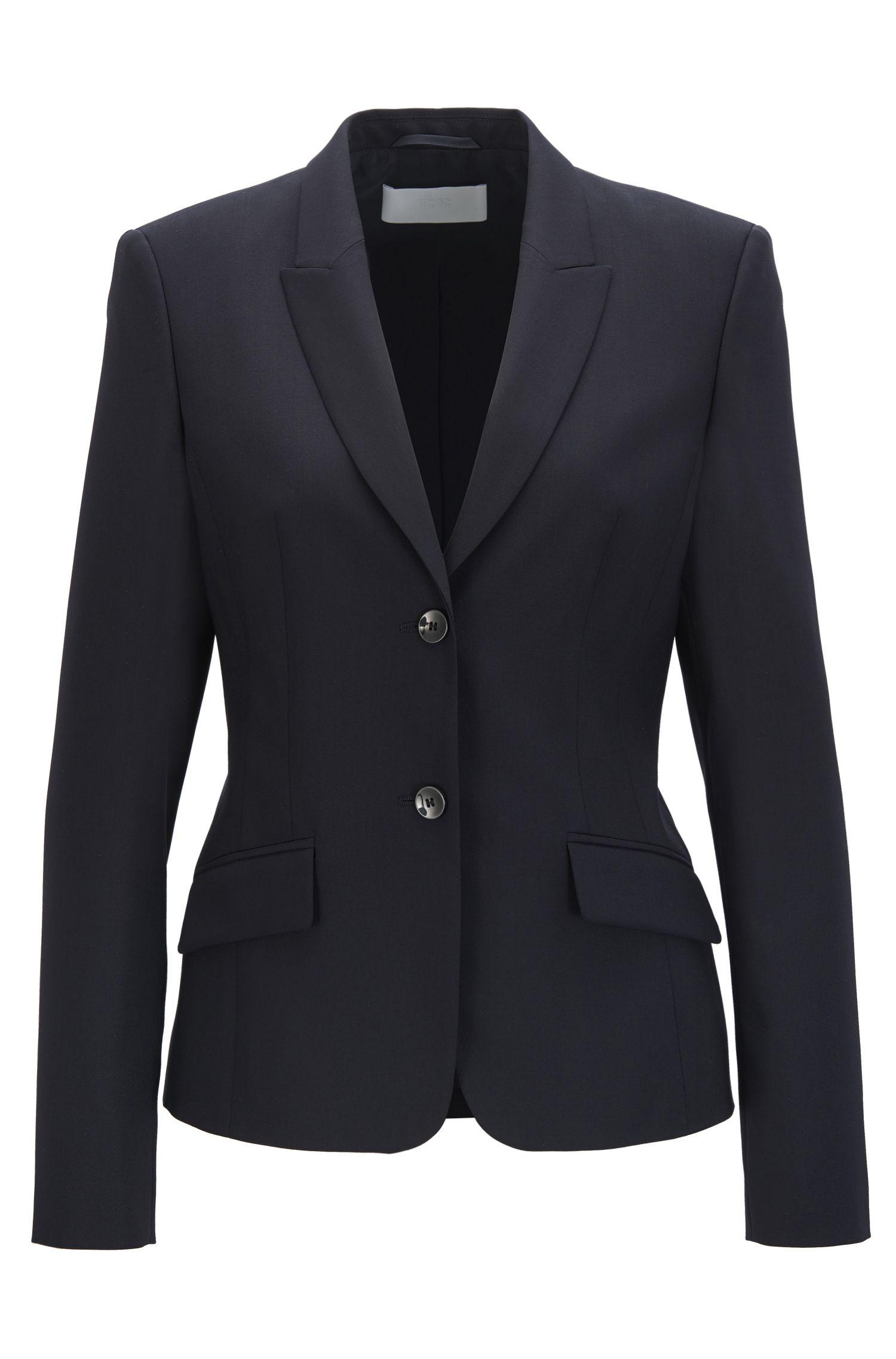 Regular-fit blazer van scheerwol met stretch