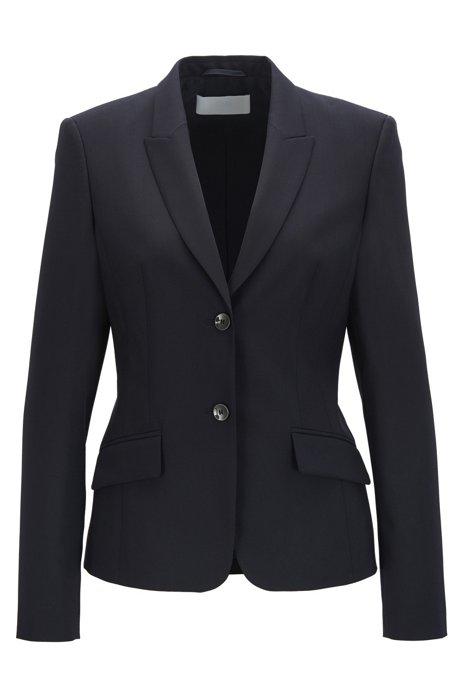 Regular-fit blazer in stretch virgin wool, Dark Blue