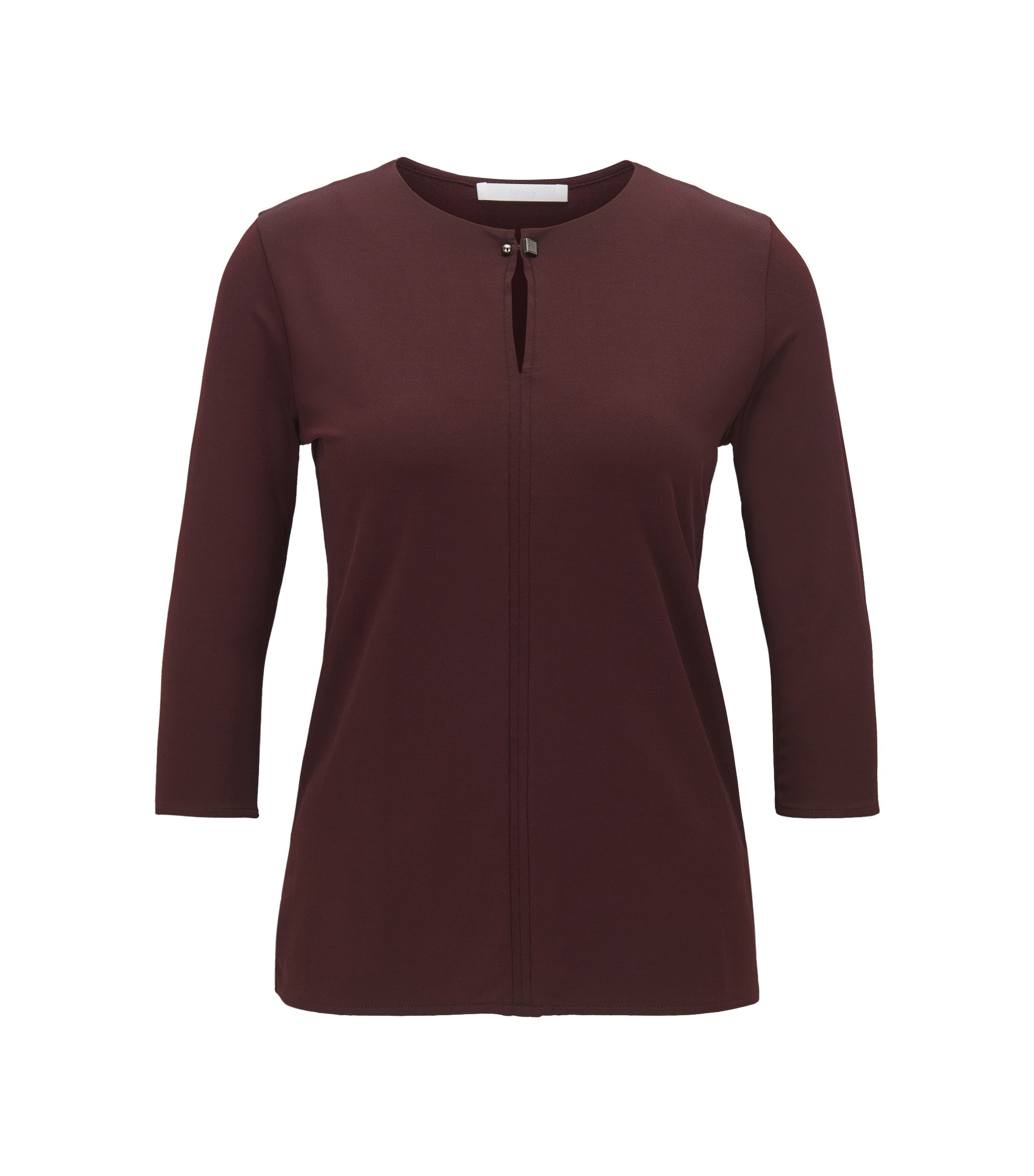 Keyhole-neckline top in stretch crêpe, Dark Red