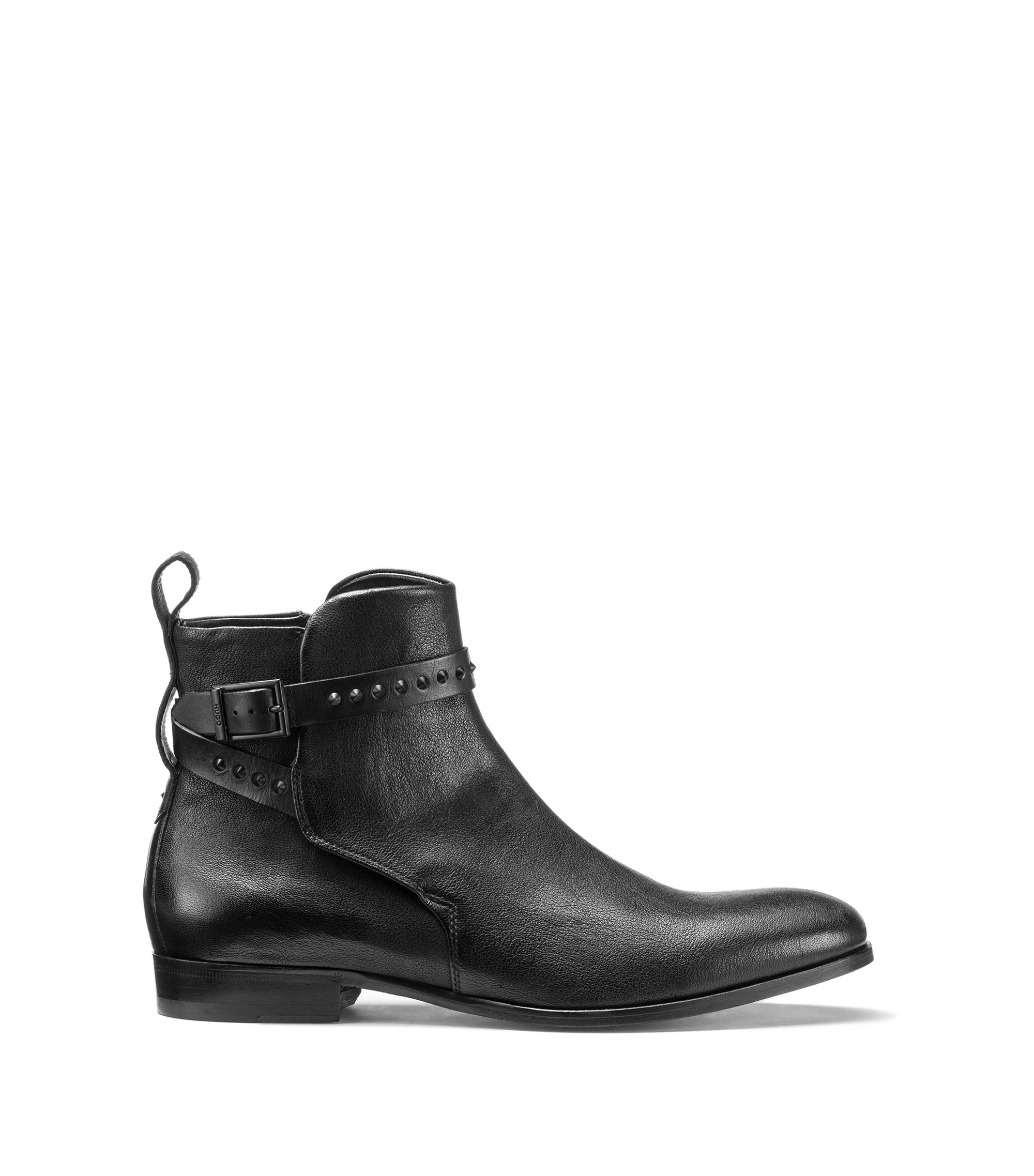 Jodhpur-style Chelsea boots in tumbled leather, Black