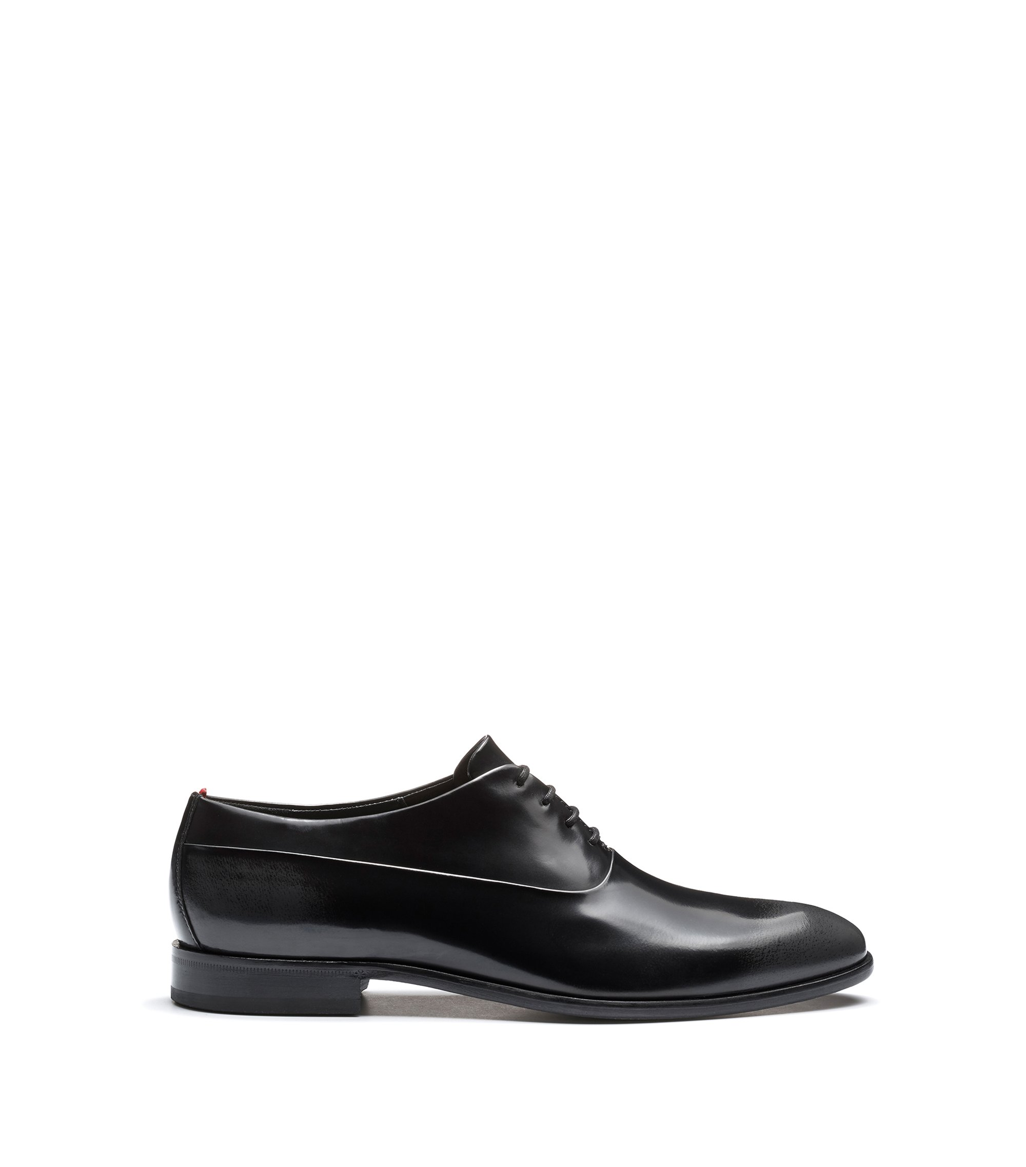 Two-tone Oxford shoes in brush-off leather, Black