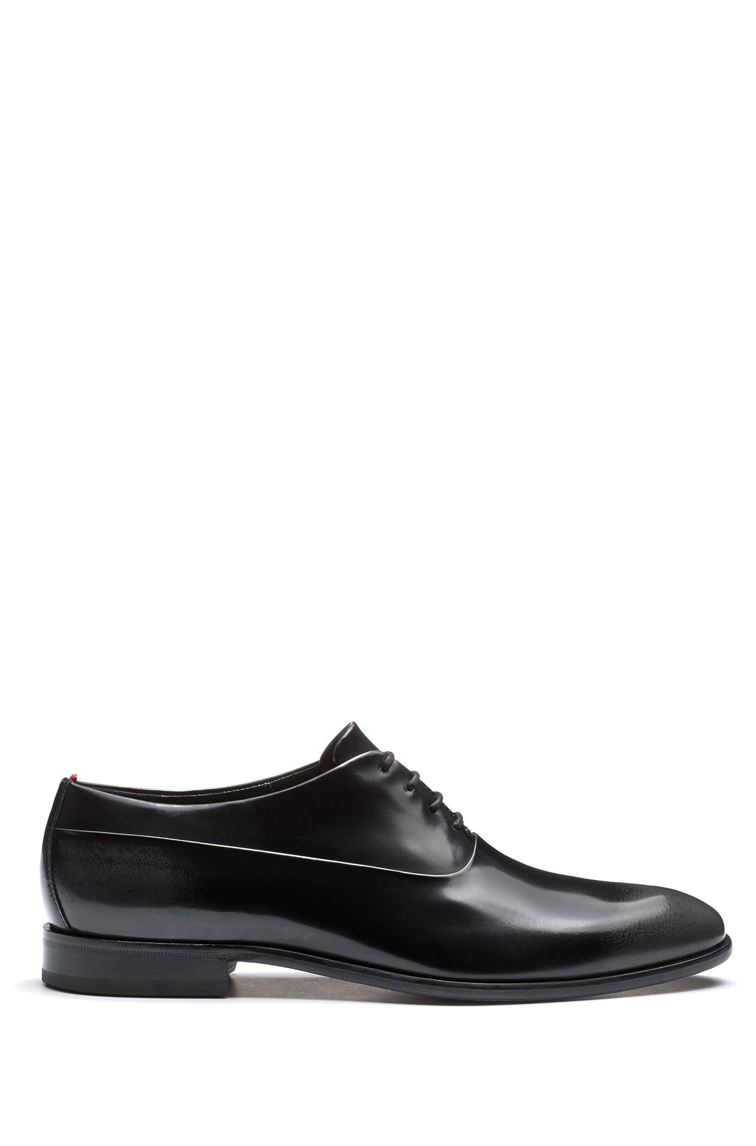 Zweifarbige Oxford-Schuhe aus Leder mit gebürstetem Finish