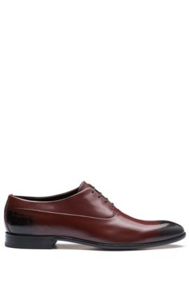 Two-tone Oxford shoes in brush-off leather, Dark Red