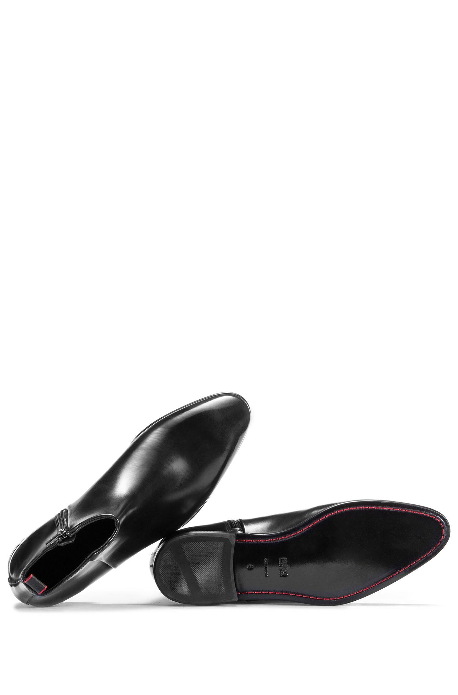 Laarzen van geborsteld leer met rits opzij