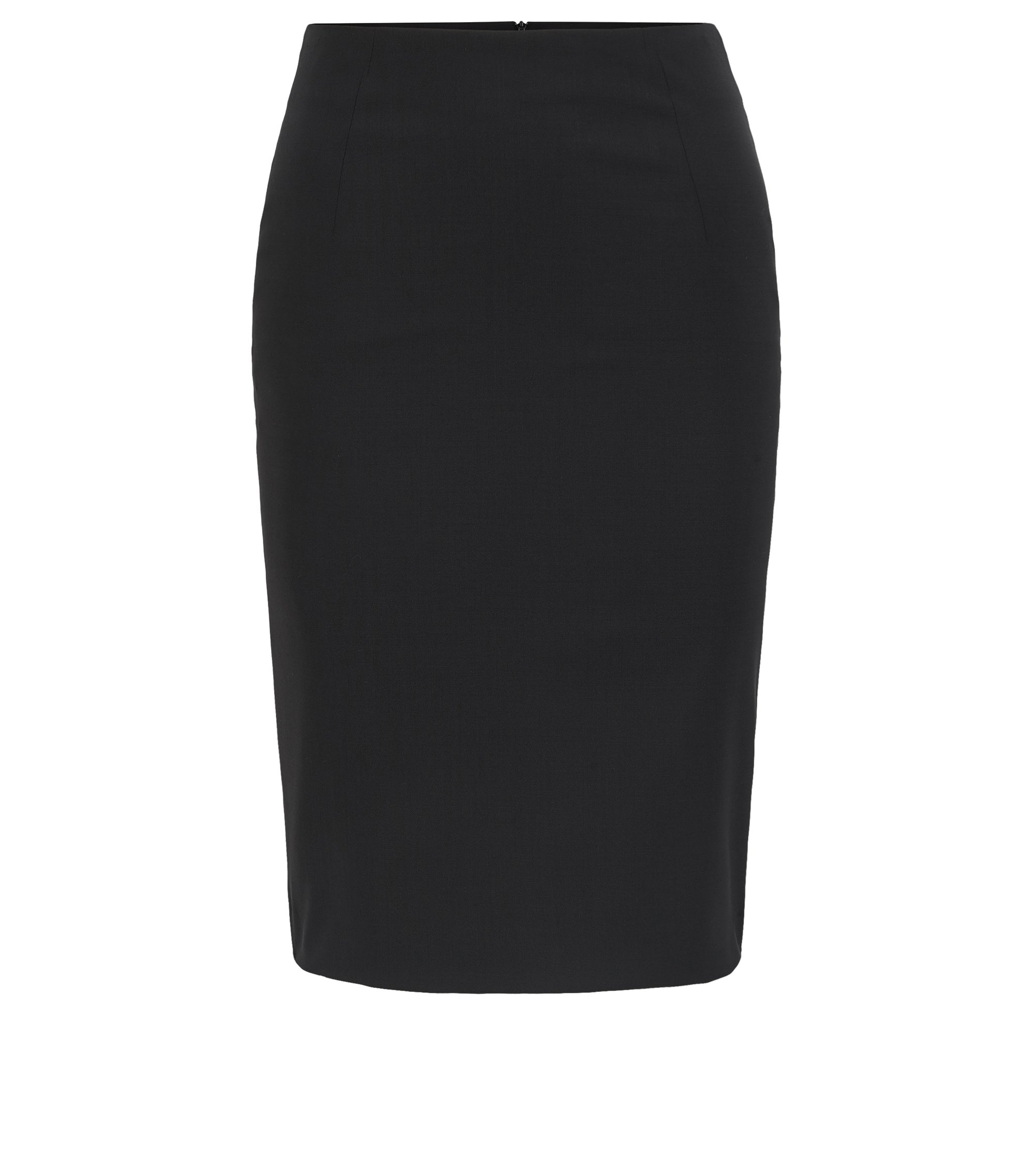 Pencil skirt in stretch virgin wool, Black