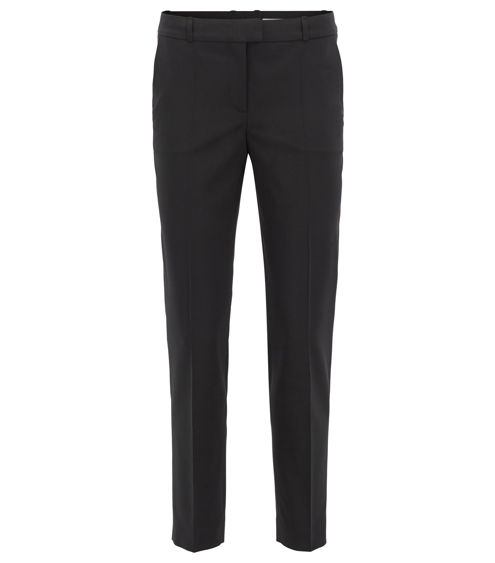 Pantalon Relaxed Fit en laine vierge stretch, Noir