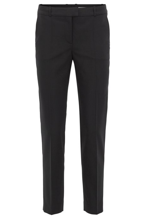 Relaxed-fit trousers in stretch virgin wool, Black