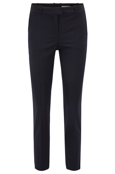 Relaxed-fit trousers in stretch virgin wool, Dark Blue