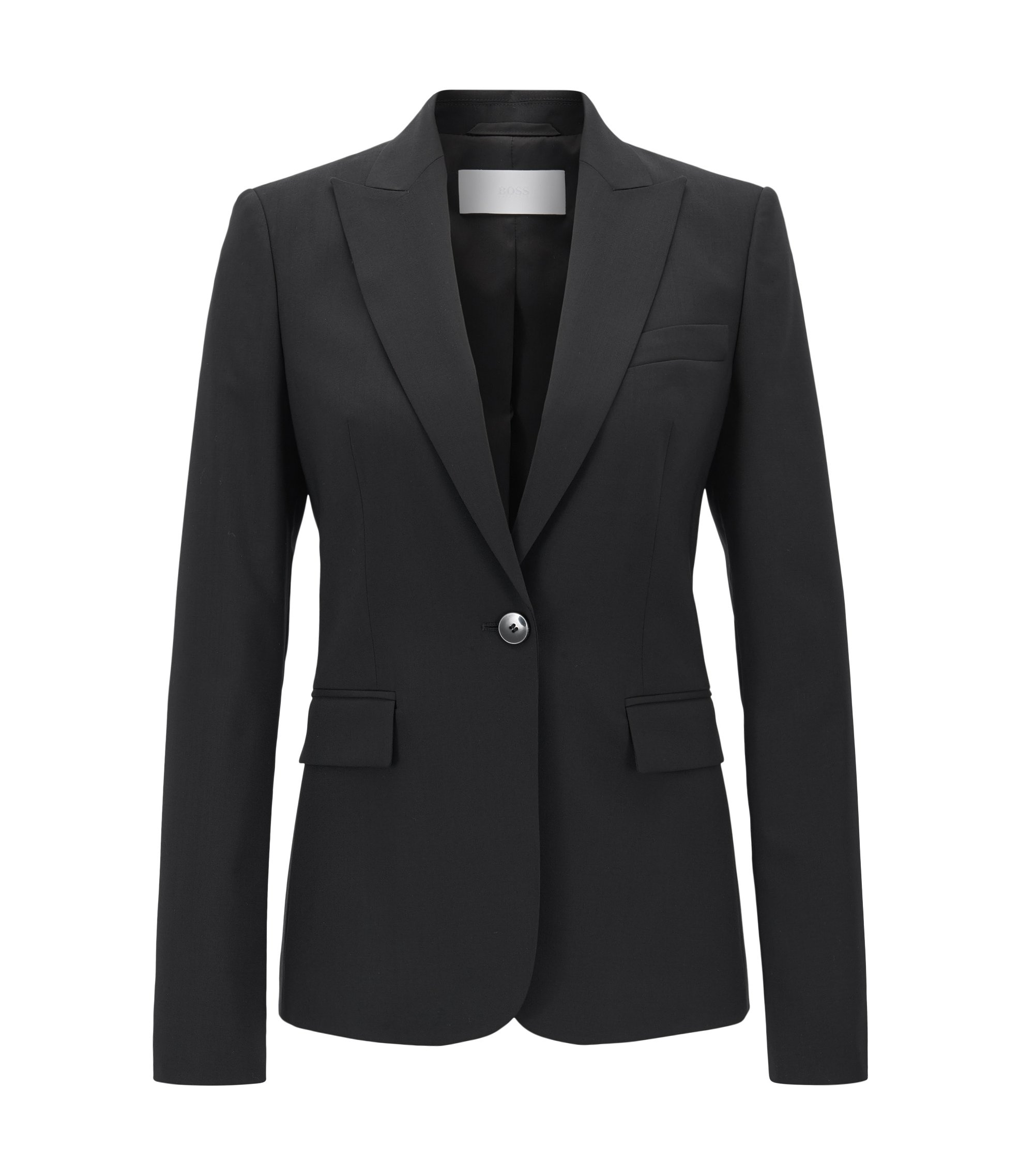 Regular-fit single-button blazer in stretch virgin wool, Black