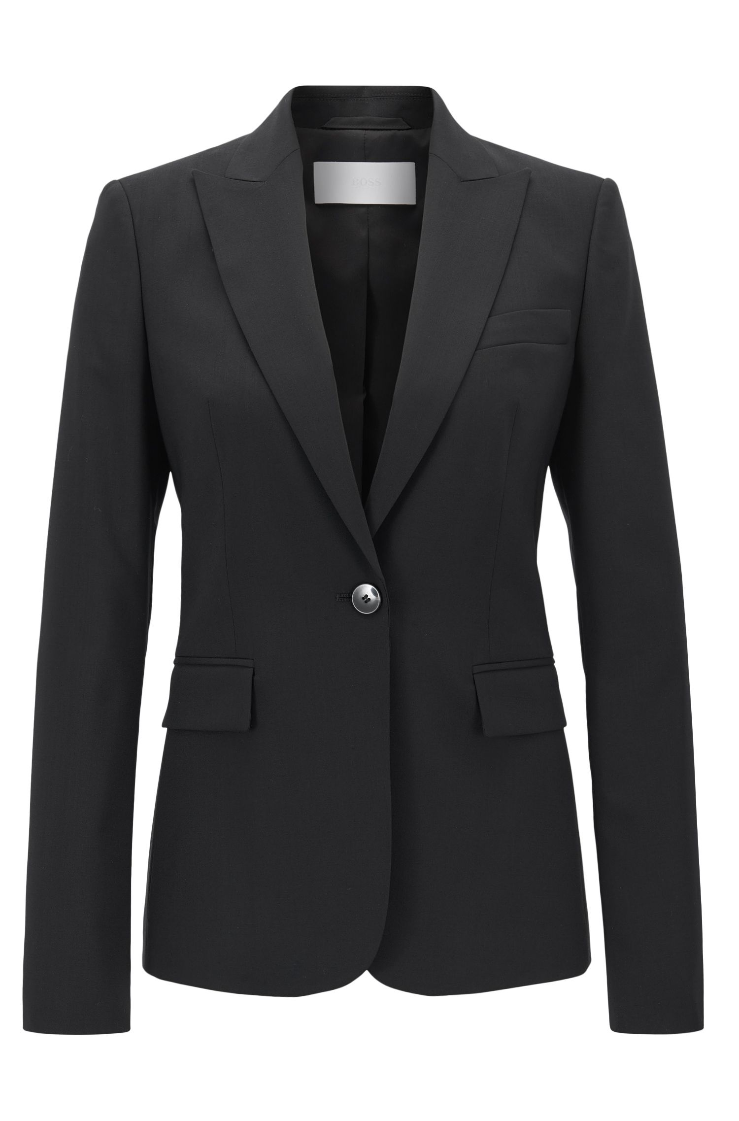 Blazer Regular Fit à un bouton en laine vierge stretch