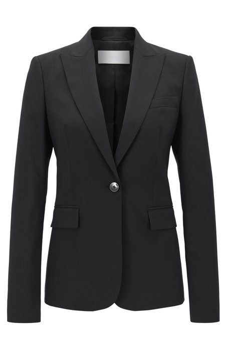 Regular-fit single-button blazer in stretch virgin wool, Black