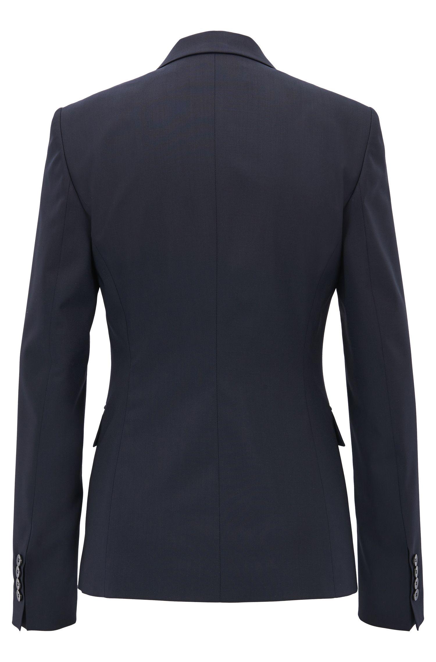 Blazer regular fit con bottone singolo in lana vergine elasticizzata
