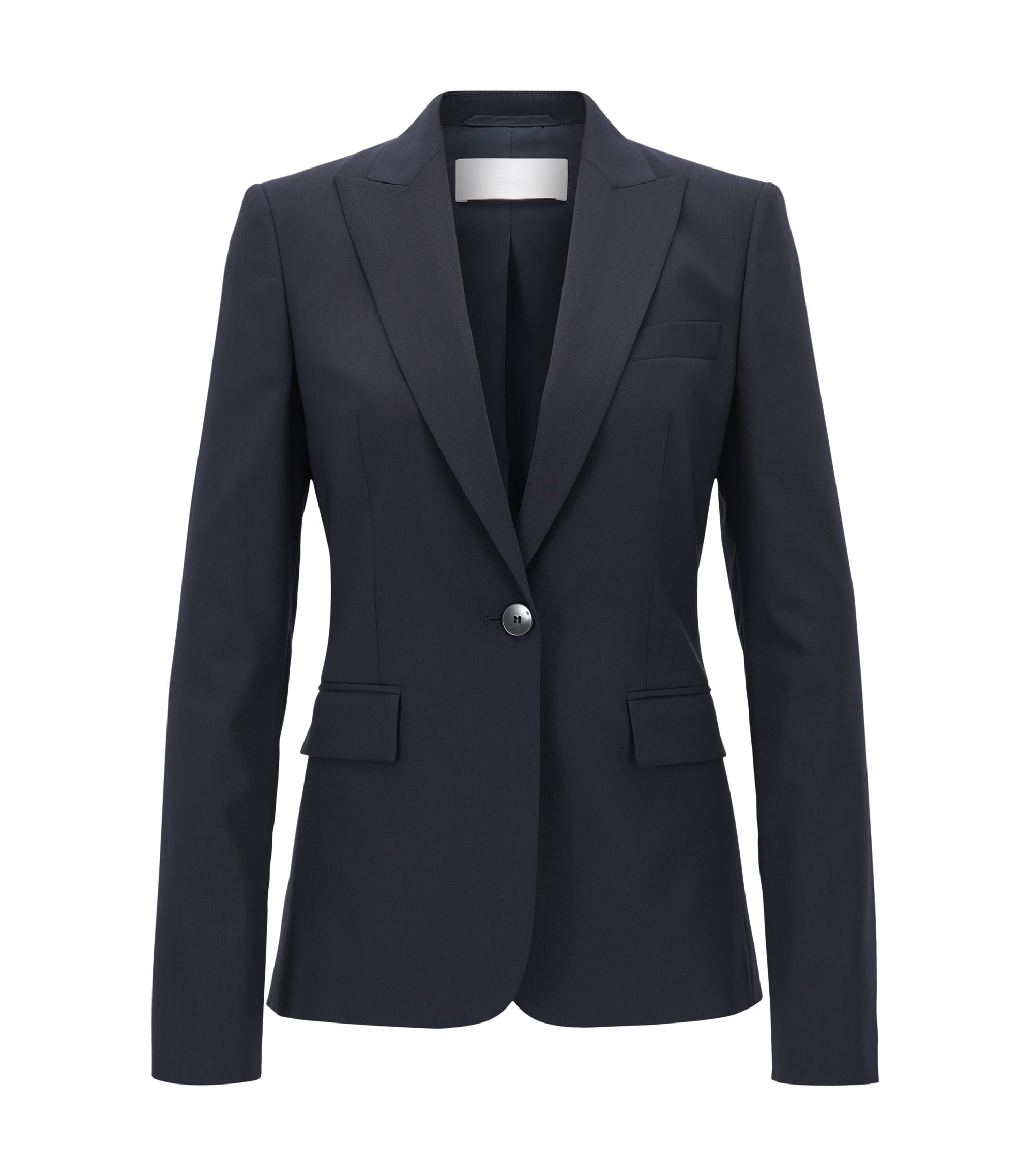 Blazer regular fit con bottone singolo in lana vergine elasticizzata, Blu scuro