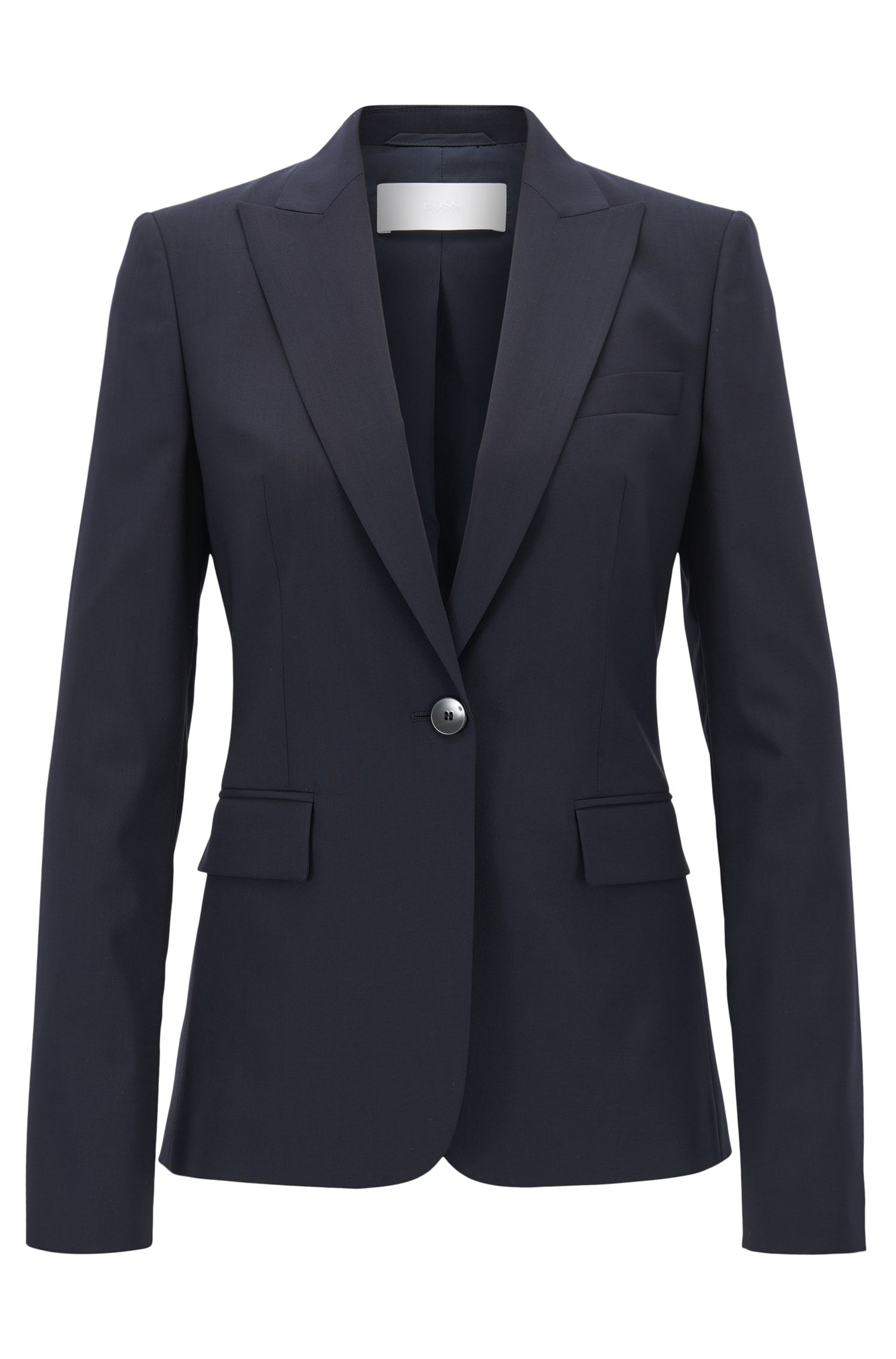 Blazer regular fit con bottone singolo in lana vergine elasticizzata