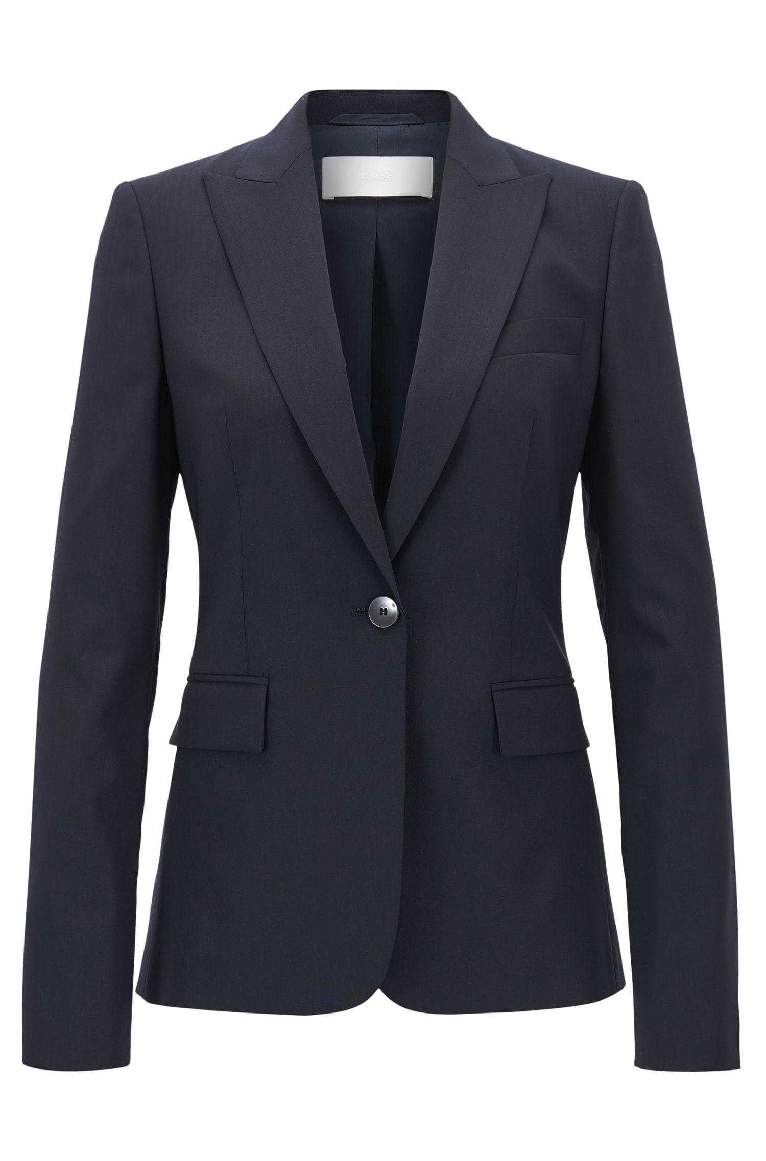 Blazer regular fit de un botón en lana virgen elástica