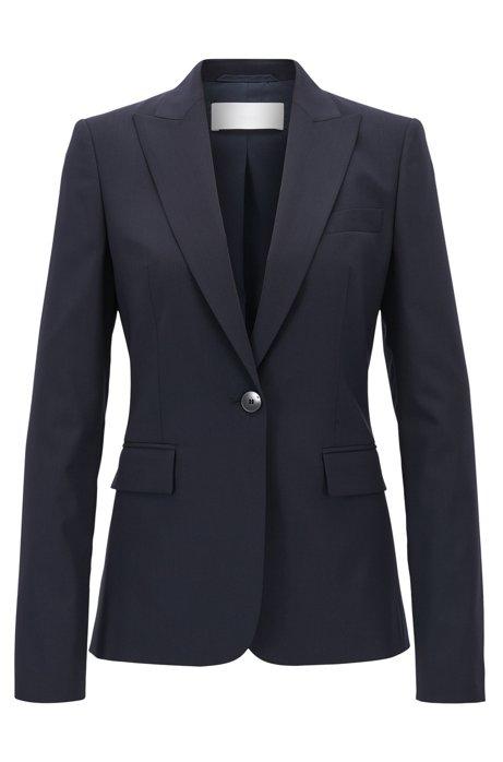 Regular-fit single-button blazer in stretch virgin wool, Dark Blue