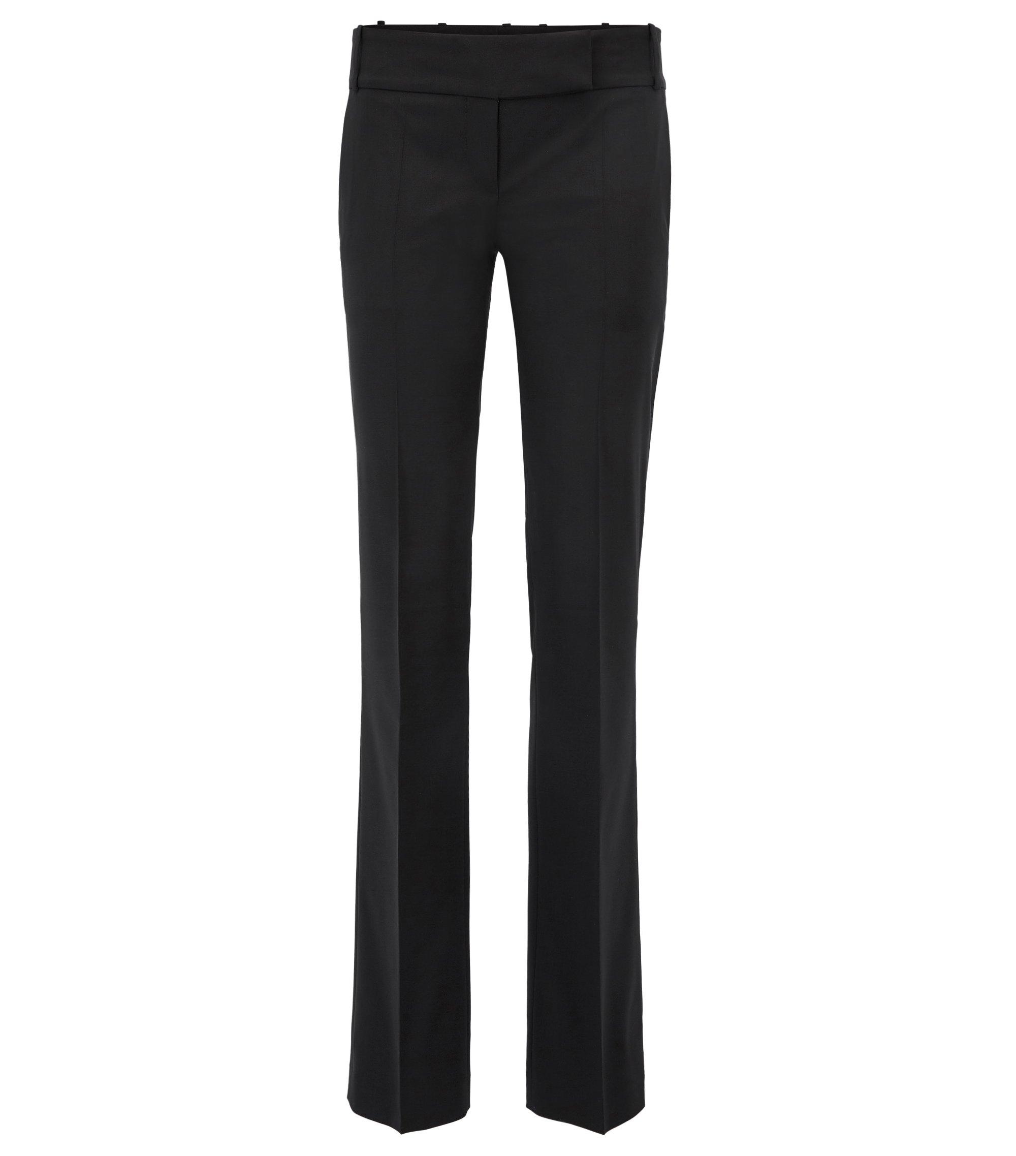 Regular-Fit Hose aus elastischer Schurwolle, Schwarz