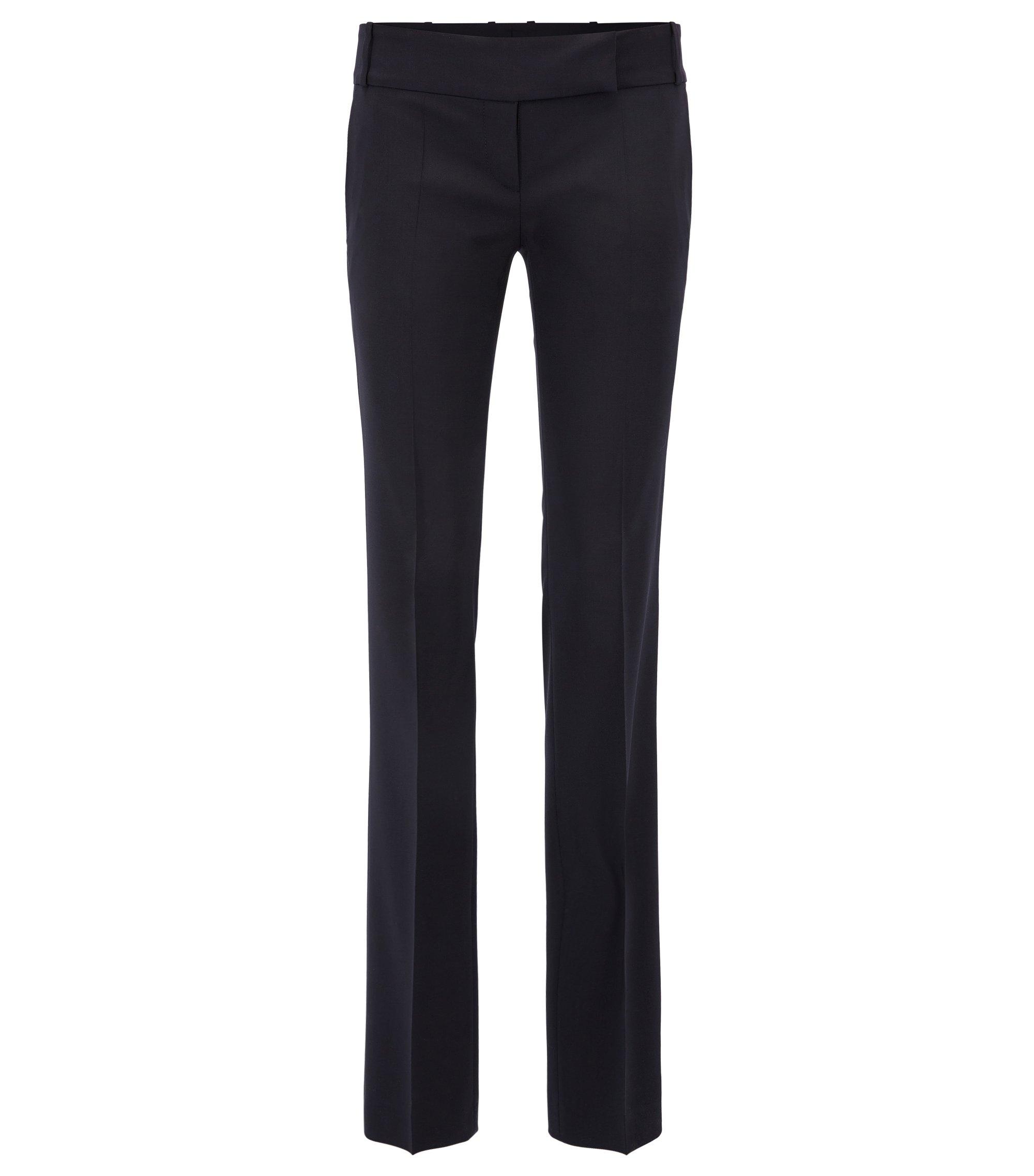 Zakelijke broek van scheerwol met stretch, Donkerblauw