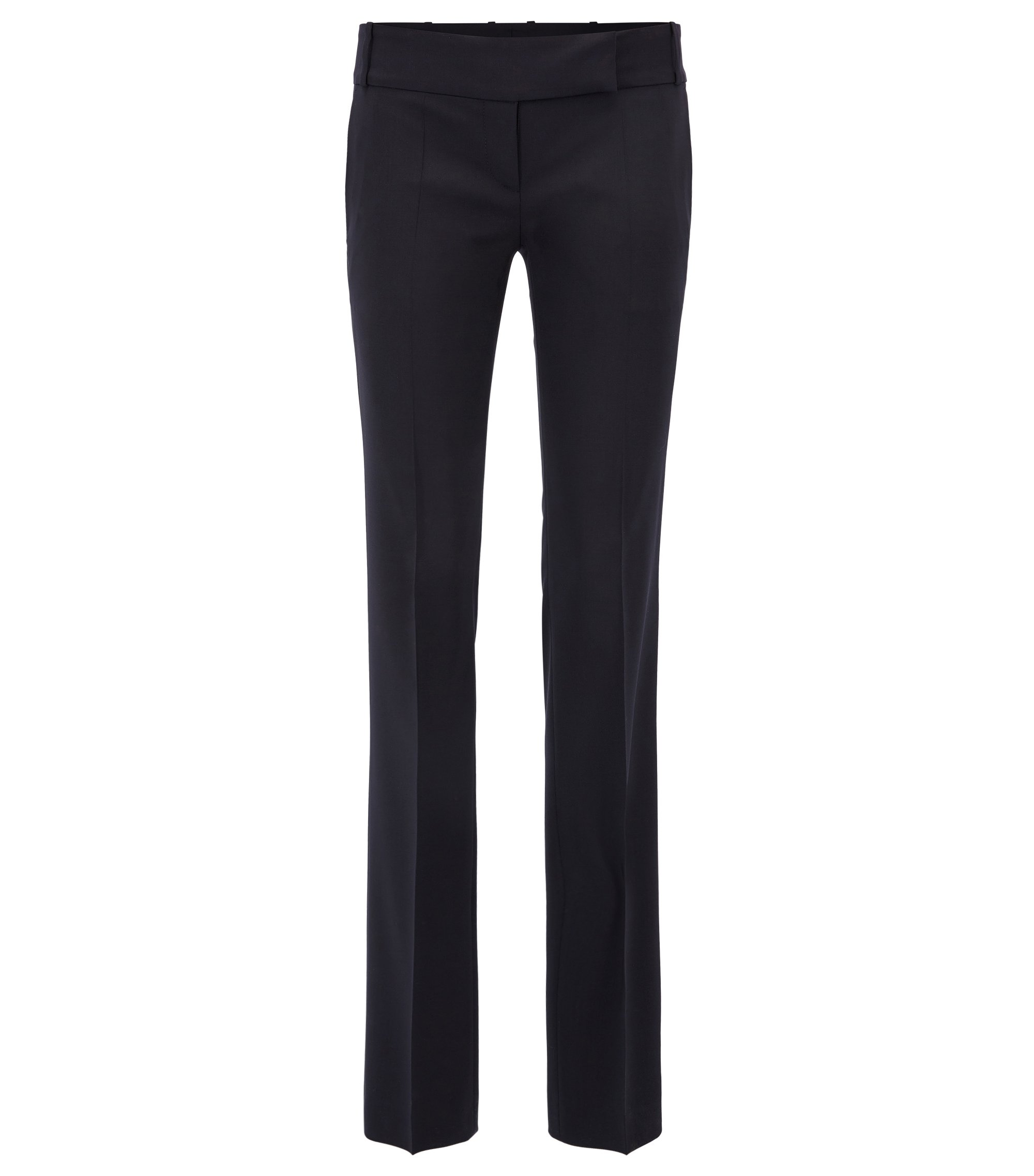 Formal trousers in stretch virgin wool, Dark Blue
