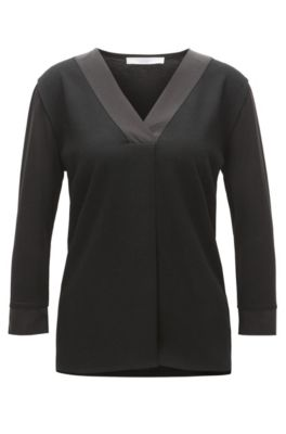 Top im Tunika-Stil aus strukturiertem Material-Mix mit Baumwolle mit Seidenbesätzen, Schwarz