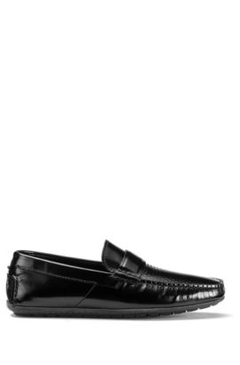 Slip-on moccasins in embossed leather, Black