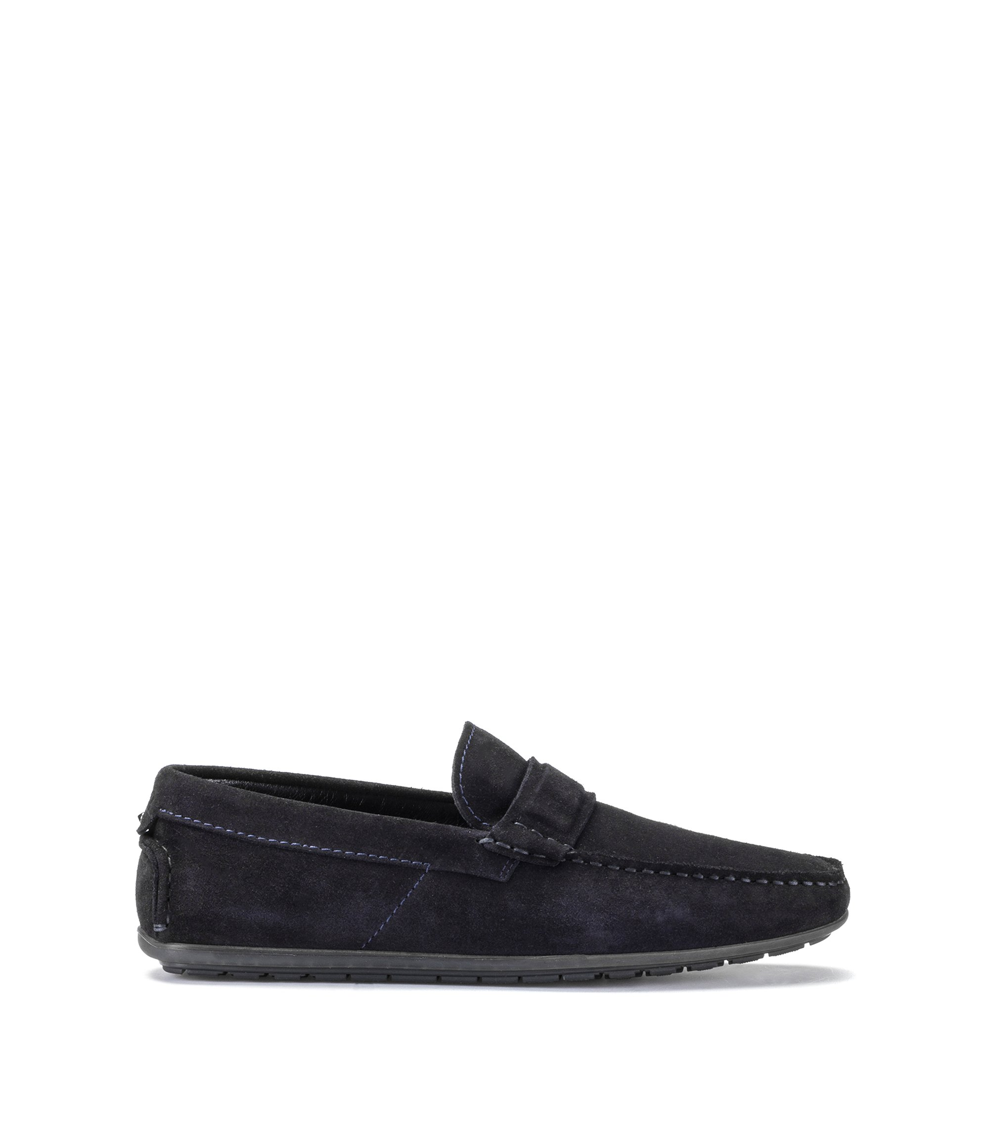 Slip-on moccasins in suede leather, Dark Blue