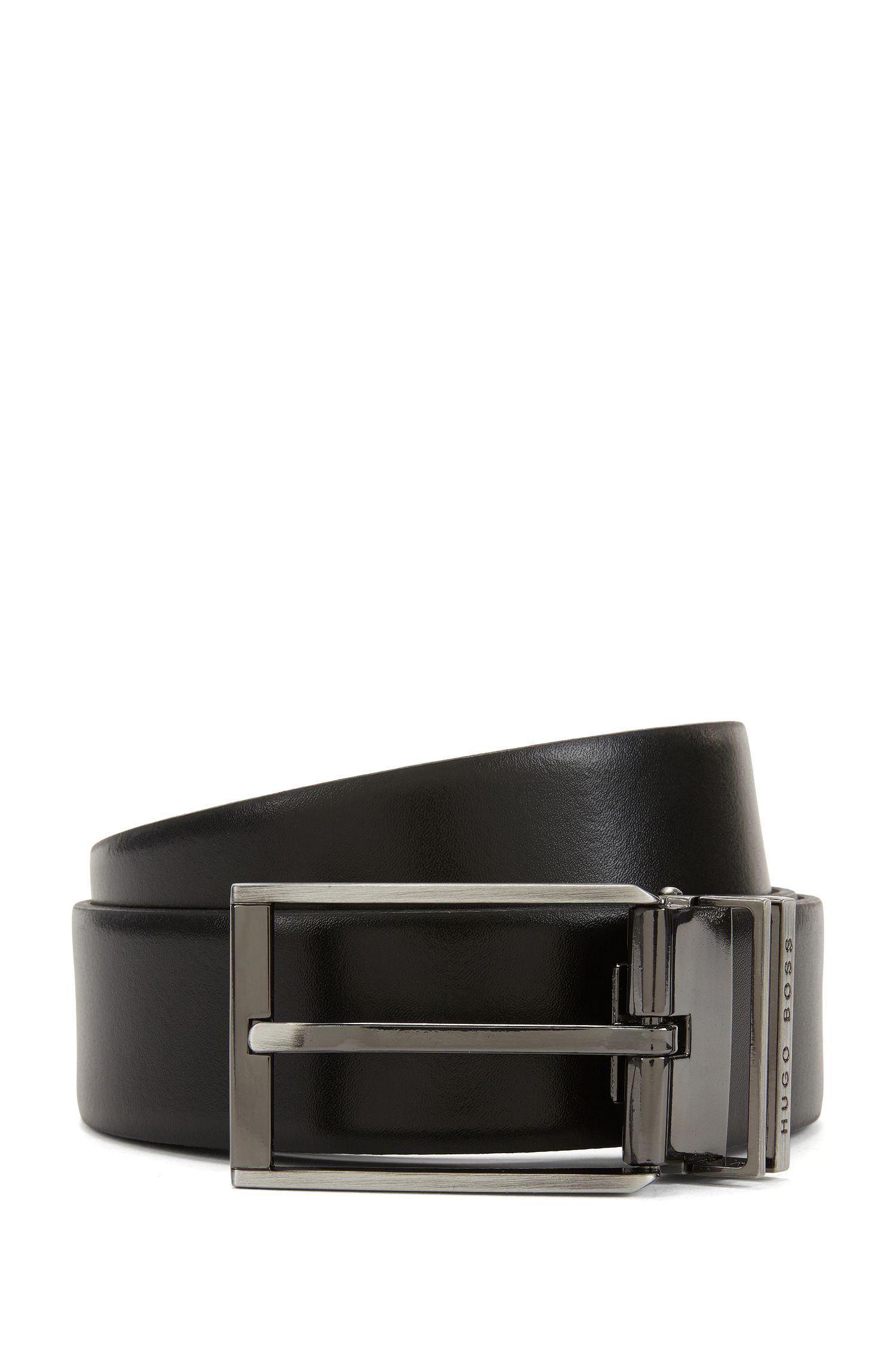 Reversible leather belt with two gunmetal hardware buckles