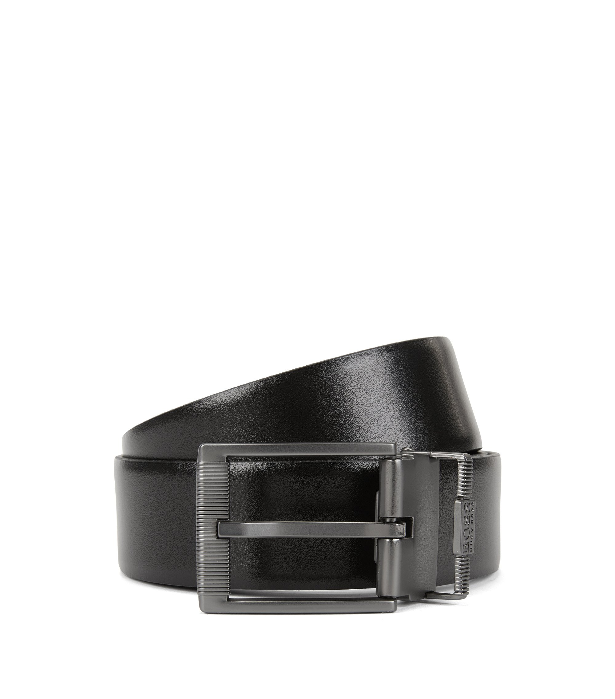 Reversible smooth and structured leather belt with matt gunmetal double buckle, Black
