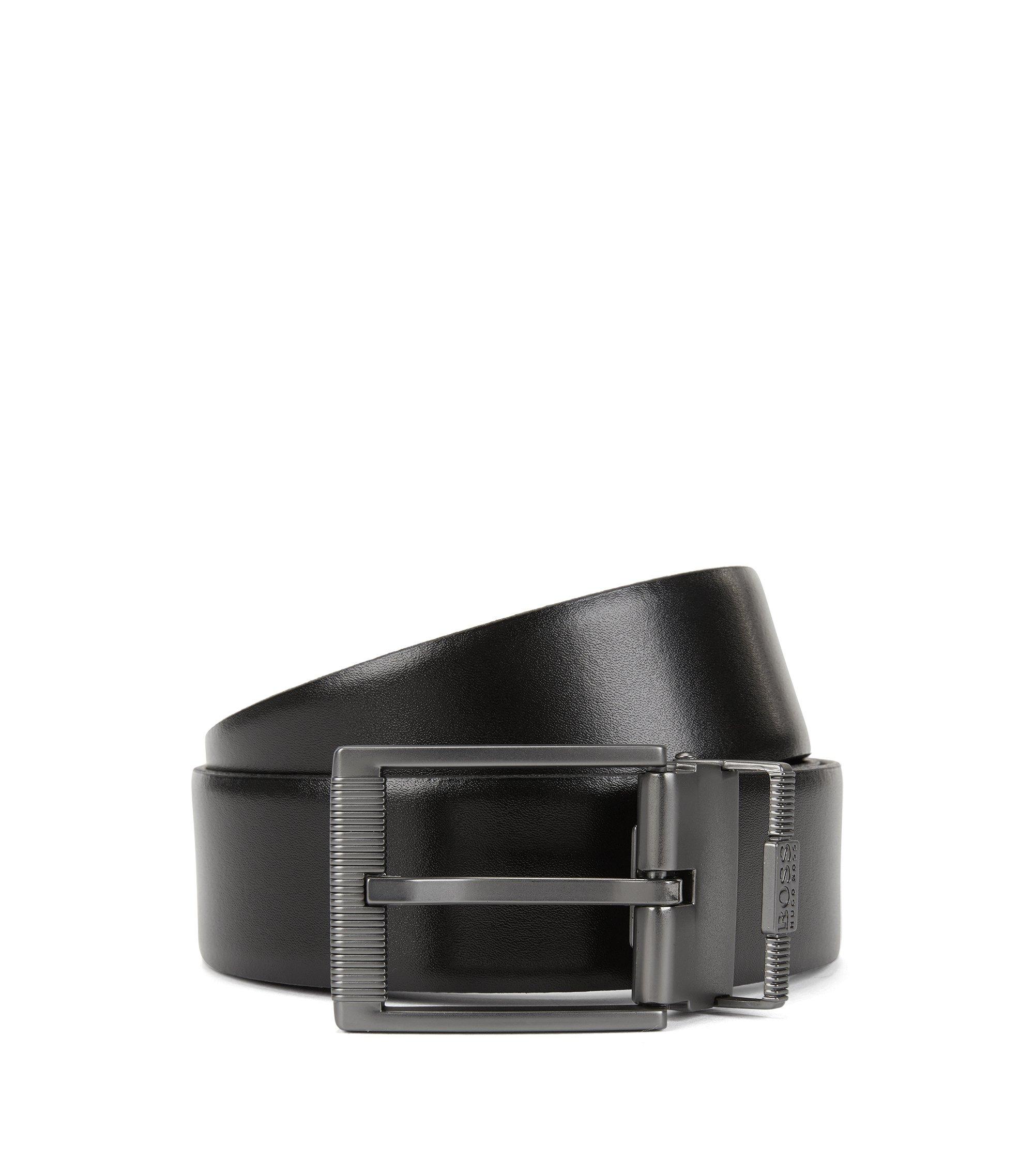 Cintura reversibile in pelle liscia e lavorata con doppia fibbia color canna di fucile opaco, Nero