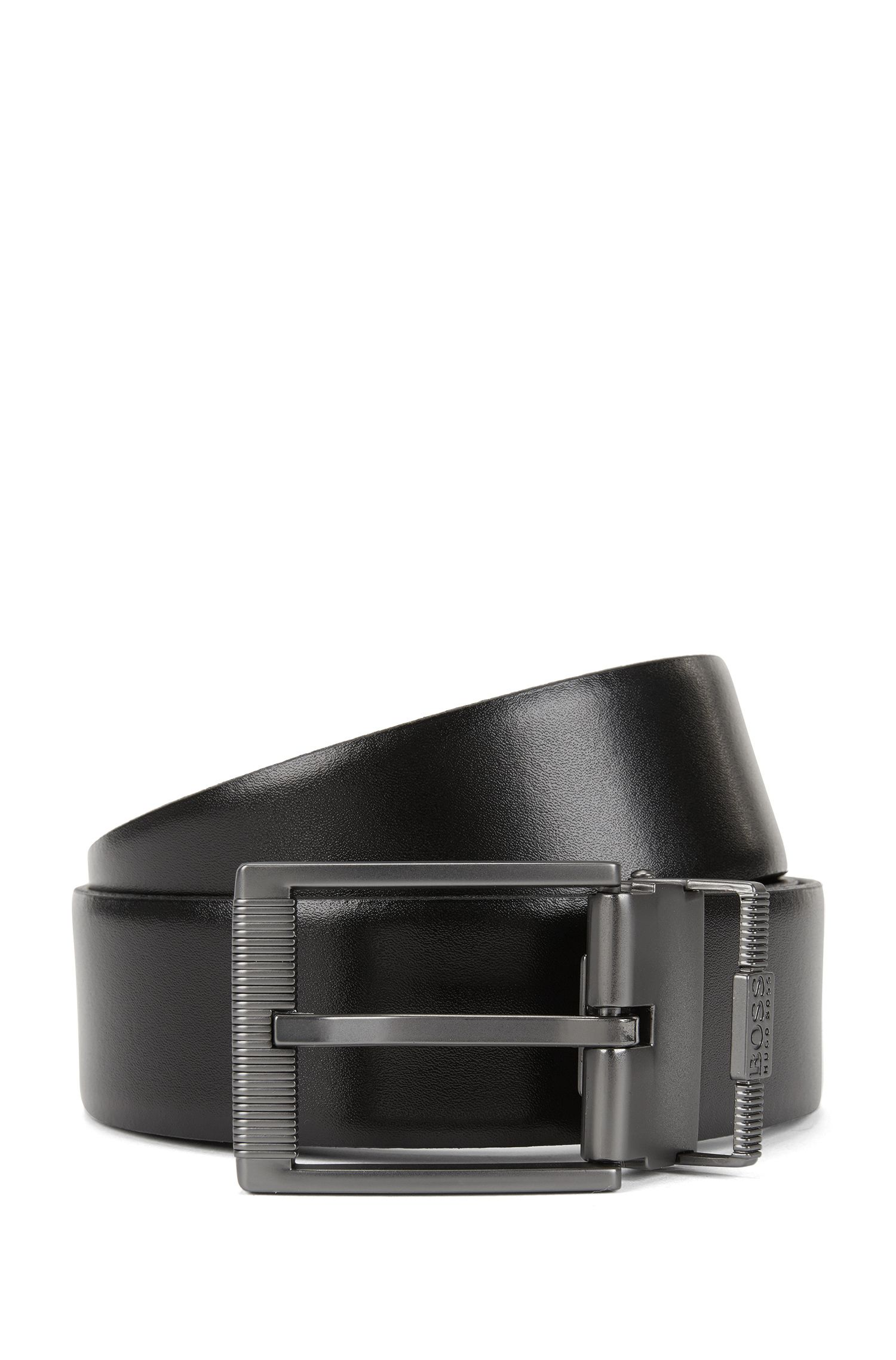 Cintura reversibile in pelle liscia e lavorata con doppia fibbia color canna di fucile opaco