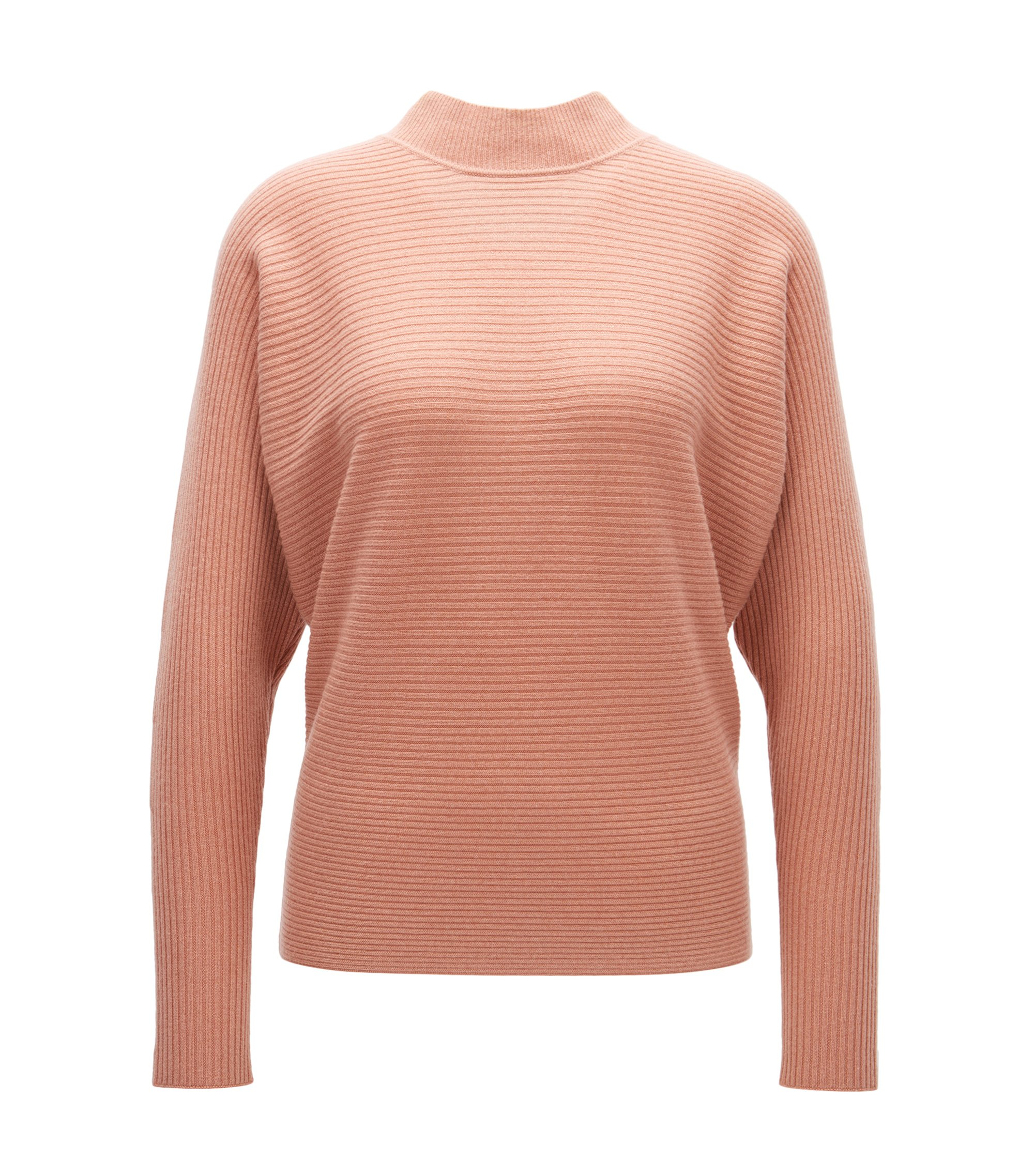 Relaxed-fit ribbed sweater in pure cashmere, Open Beige