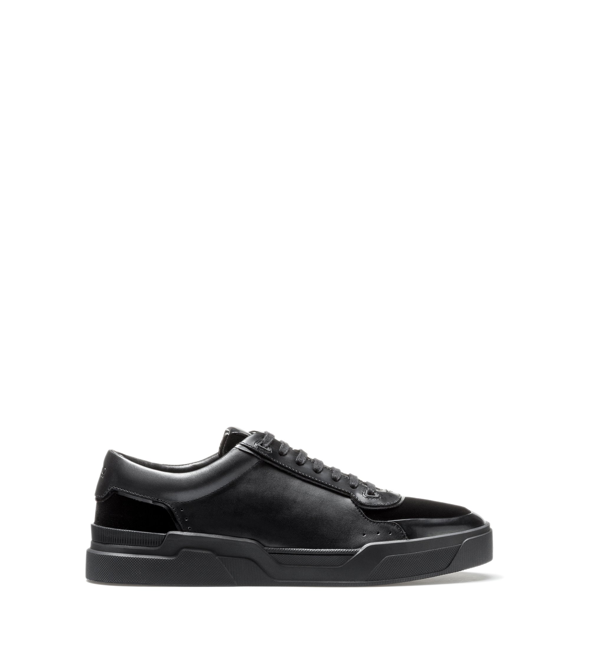 Sneakers stringate low-top in velluto e pelle nappa, Nero