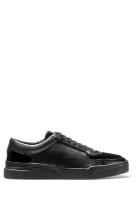 Low-top lace-up trainers in velvet and nappa leather, Black