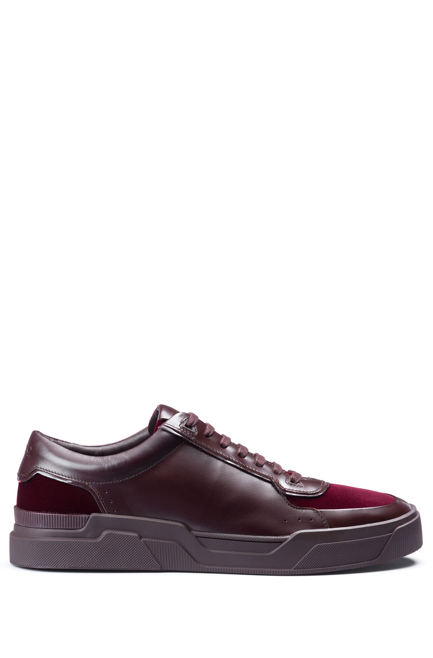 Low-top lace-up trainers in velvet and nappa leather