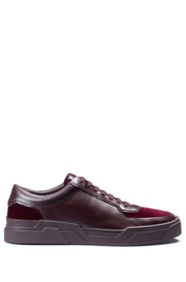 Low-top lace-up trainers in velvet and nappa leather, Dark Red