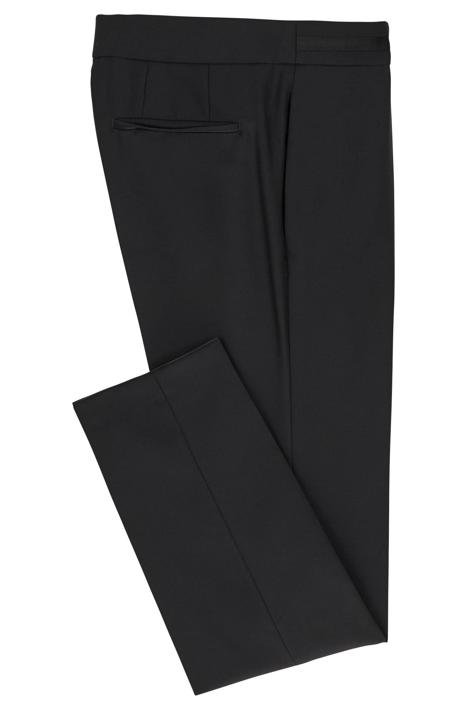 Pantaloni formali slim fit in lana vergine