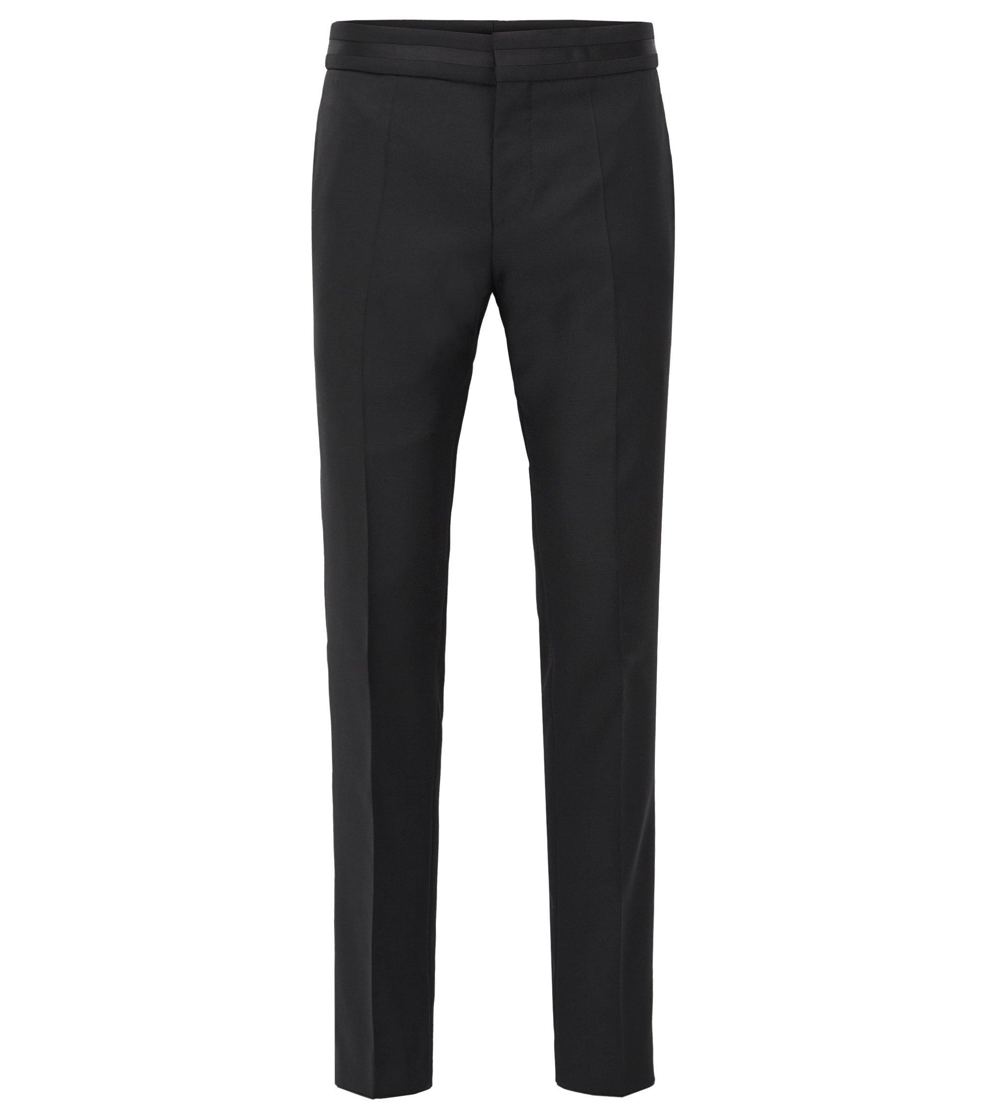 Slim-fit pantalon van scheerwol, Zwart