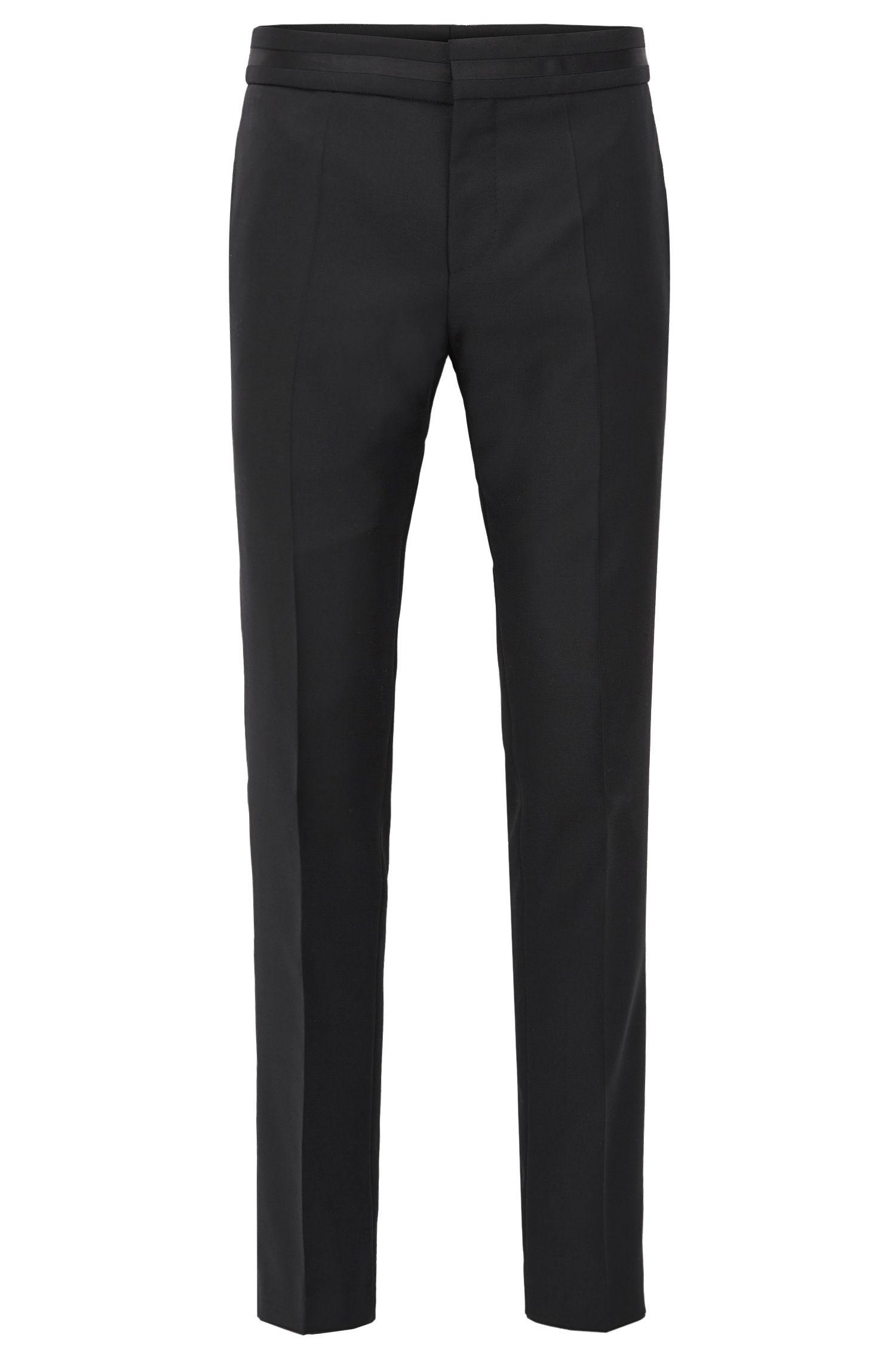 Pantaloni formali slim fit in lana vergine