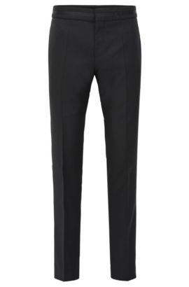 Pantaloni formali slim fit in lana vergine, Nero