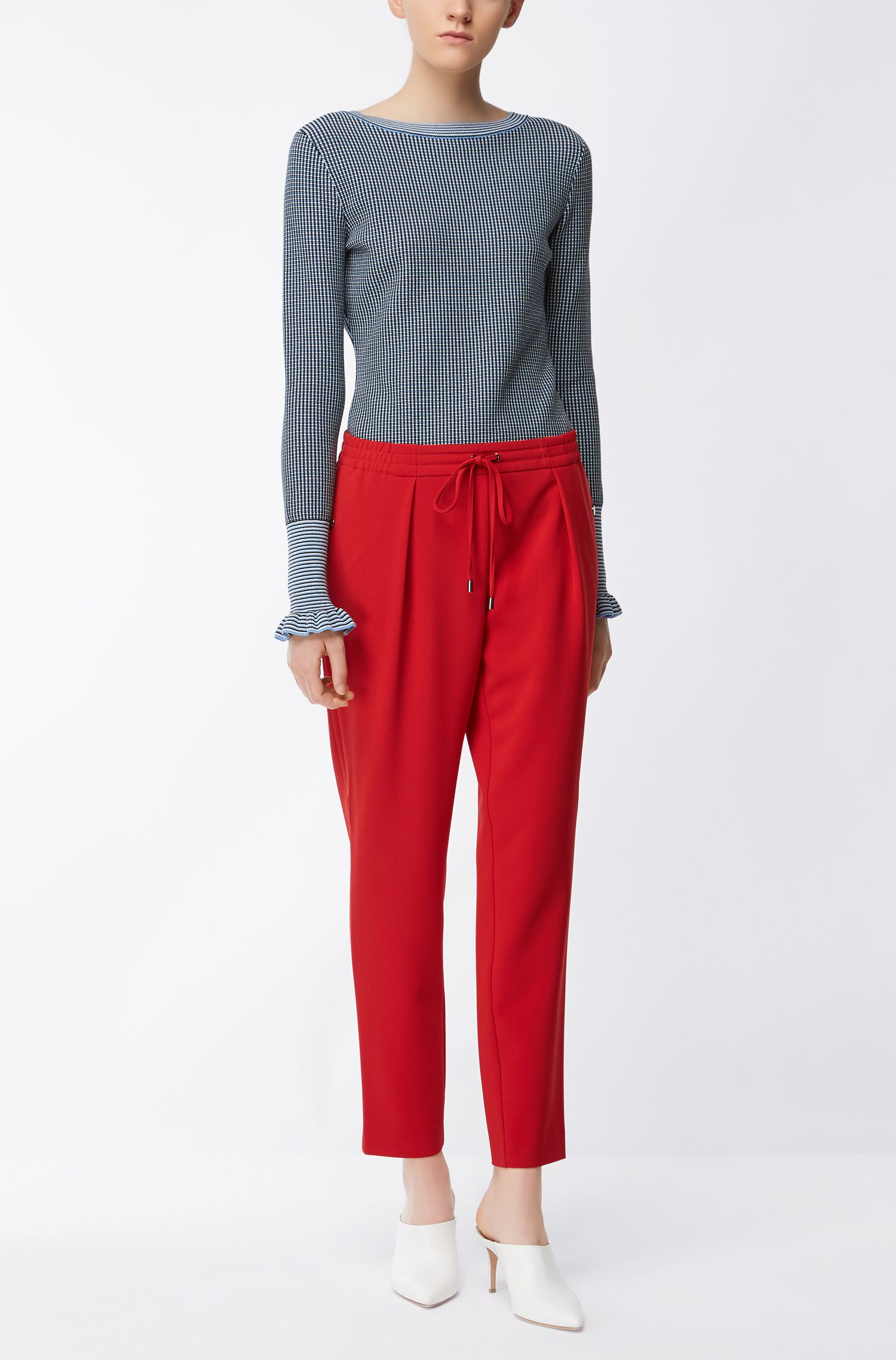 Regular-fit boat-neck sweater in Italian stretch fabric