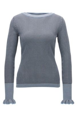 Regular-fit boat-neck sweater in Italian stretch fabric, Patterned