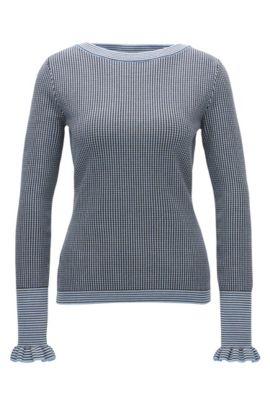 Regular-Fit Pullover aus elastischem Material-Mix mit U-Ausschnitt, Gemustert