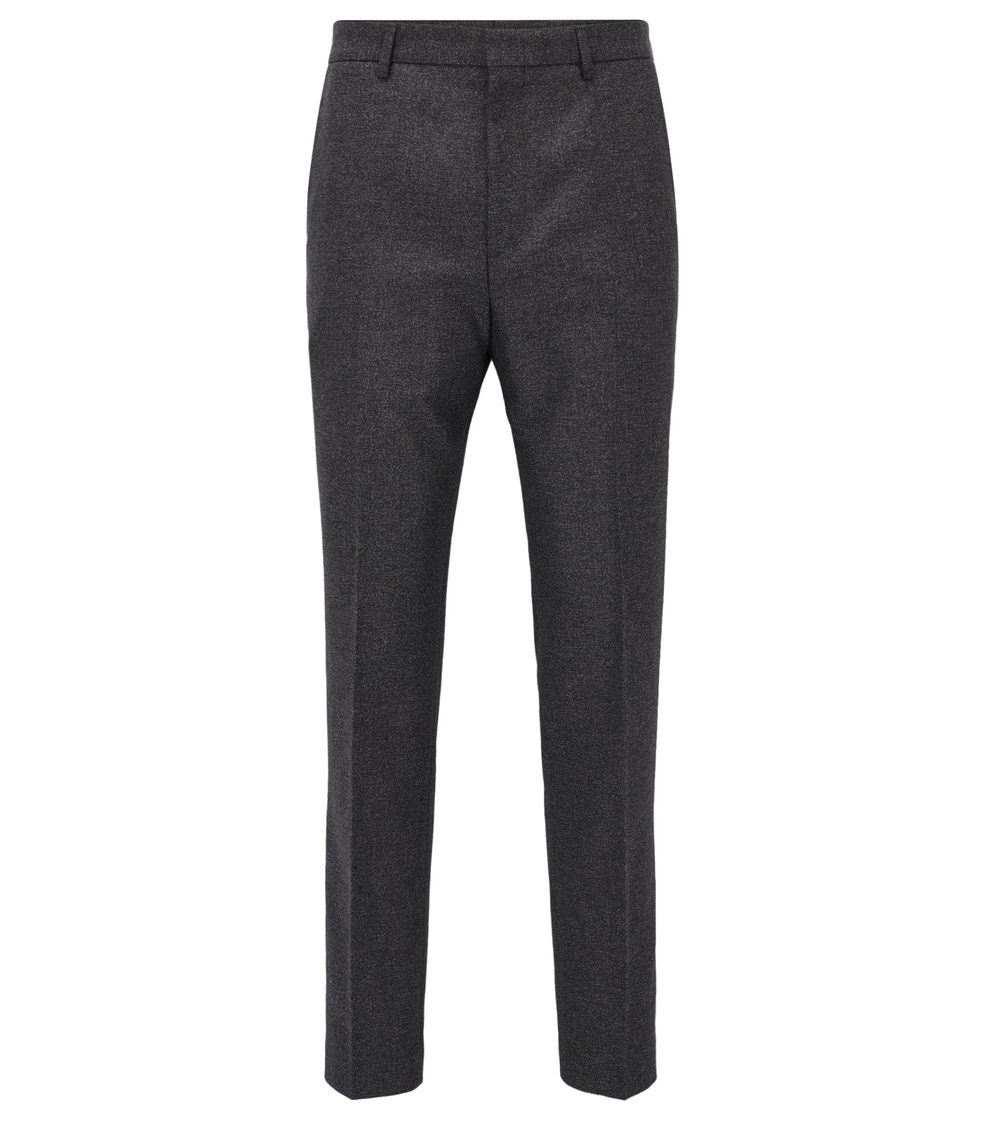 Pantalon Slim Fit en coton mélangé chiné, Anthracite
