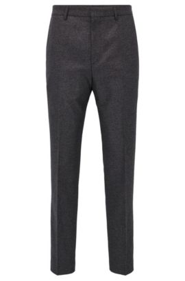 Slim-fit trousers in a mélange cotton blend, Anthracite