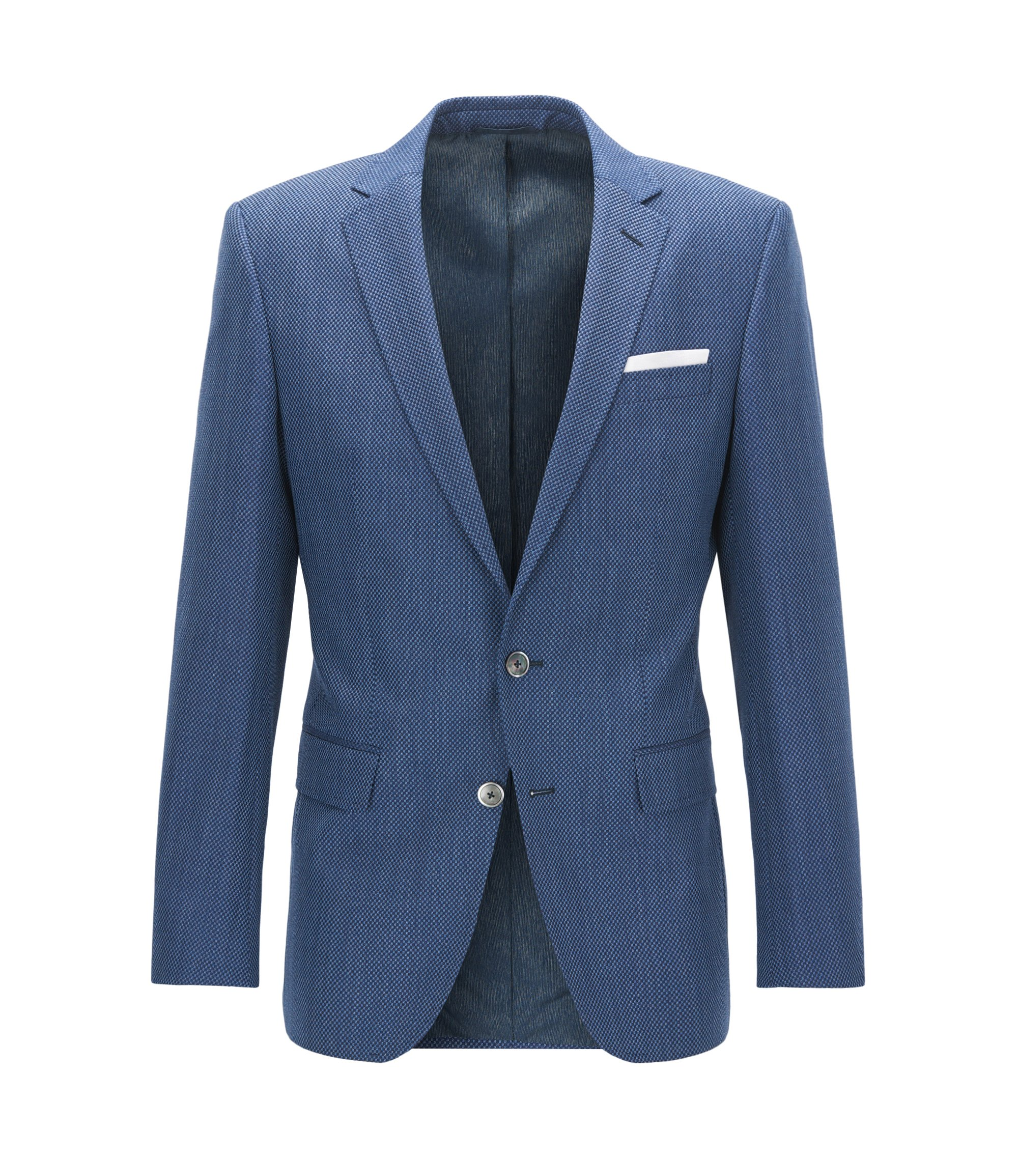 Slim-fit jacket in micro-patterned virgin wool, Dark Blue