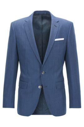 Americana slim fit en lana virgen con microestampado, Azul oscuro