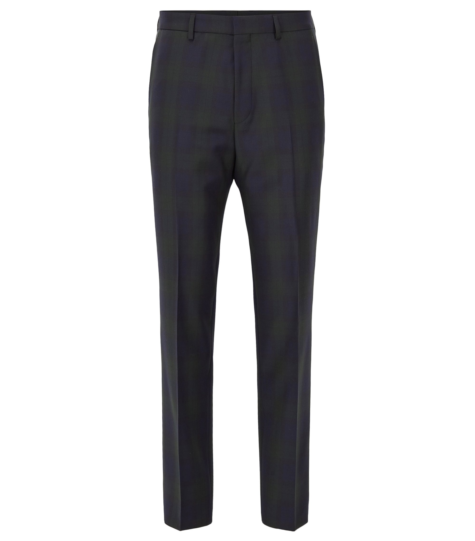 Checked slim-fit trousers in virgin wool, Dark Green