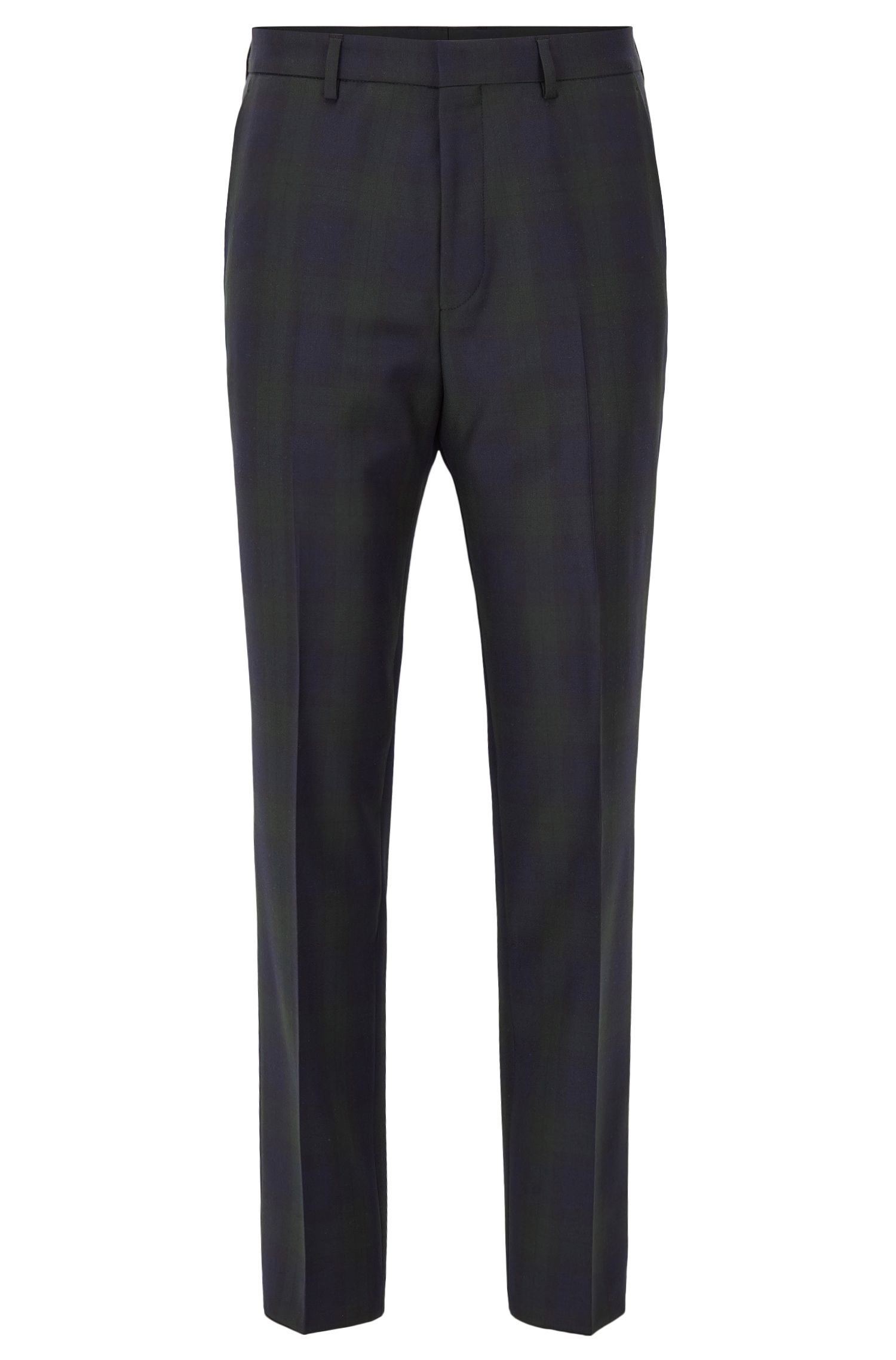 Checked slim-fit trousers in virgin wool
