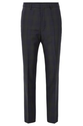 Checked slim-fit trousers in virgin wool, Open Green