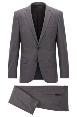 Slim-fit suit in mélange virgin wool, Grey